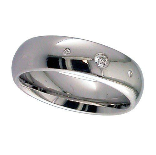 Dome Titanium Ring, With 3 Diamonds