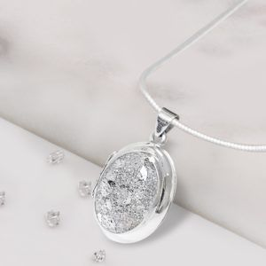 Sterling Silver Crystarosin Oval Inlaid Memorial Locket