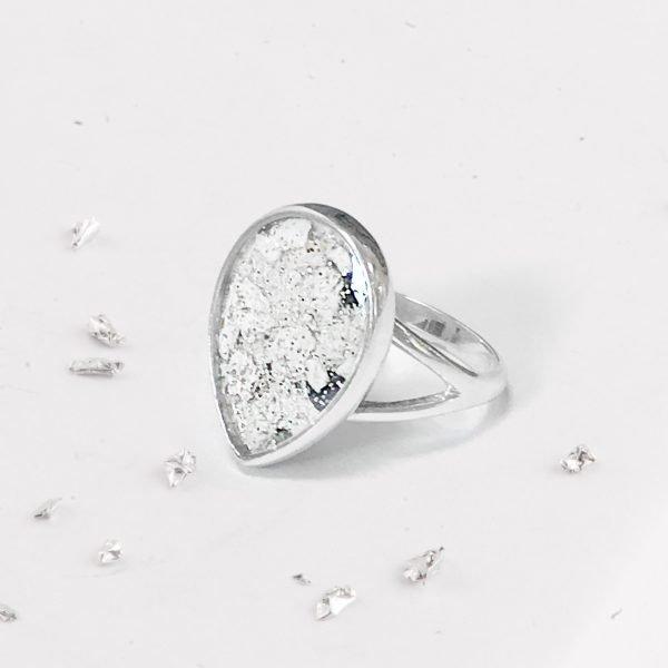 Sterling Silver Crystarosin Teardrop Inlaid Memorial Ring