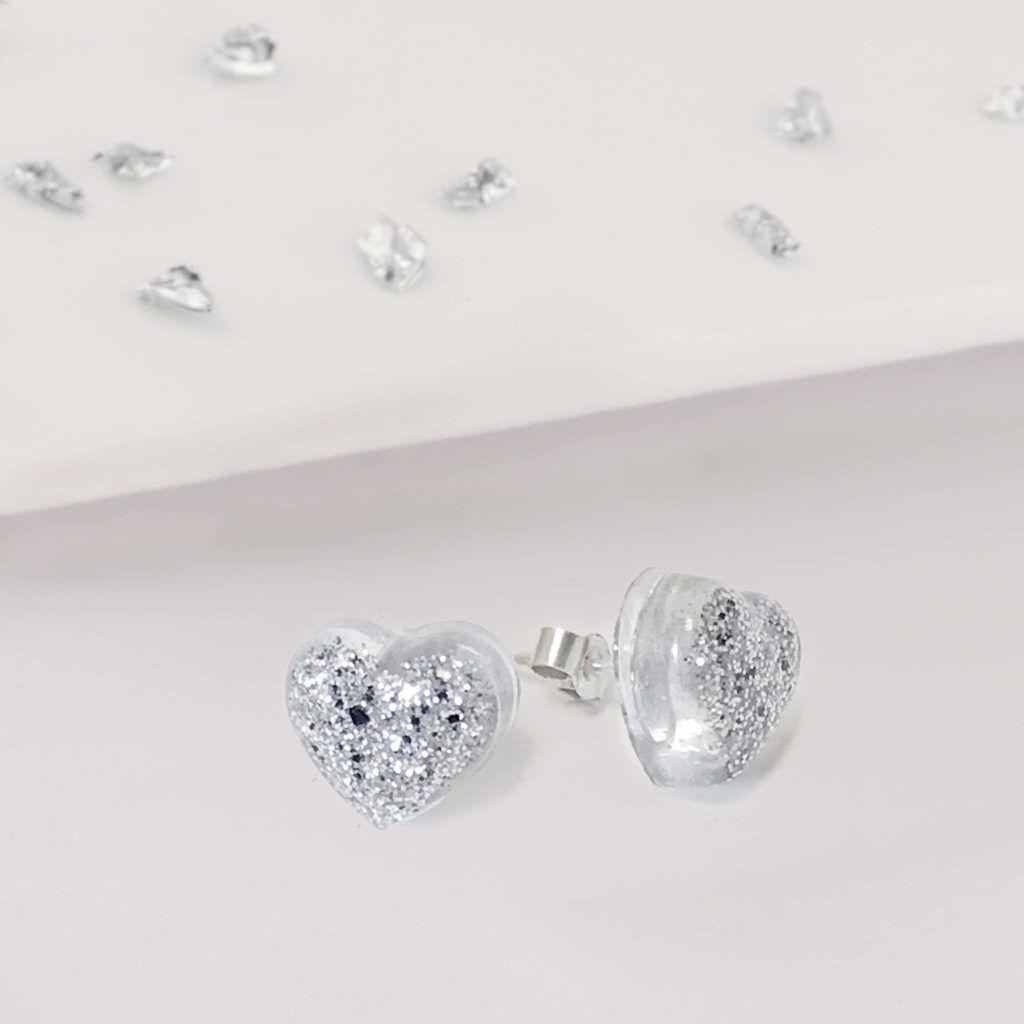 Ashes or Hair Small Crystarosin Heart Stud Earrings