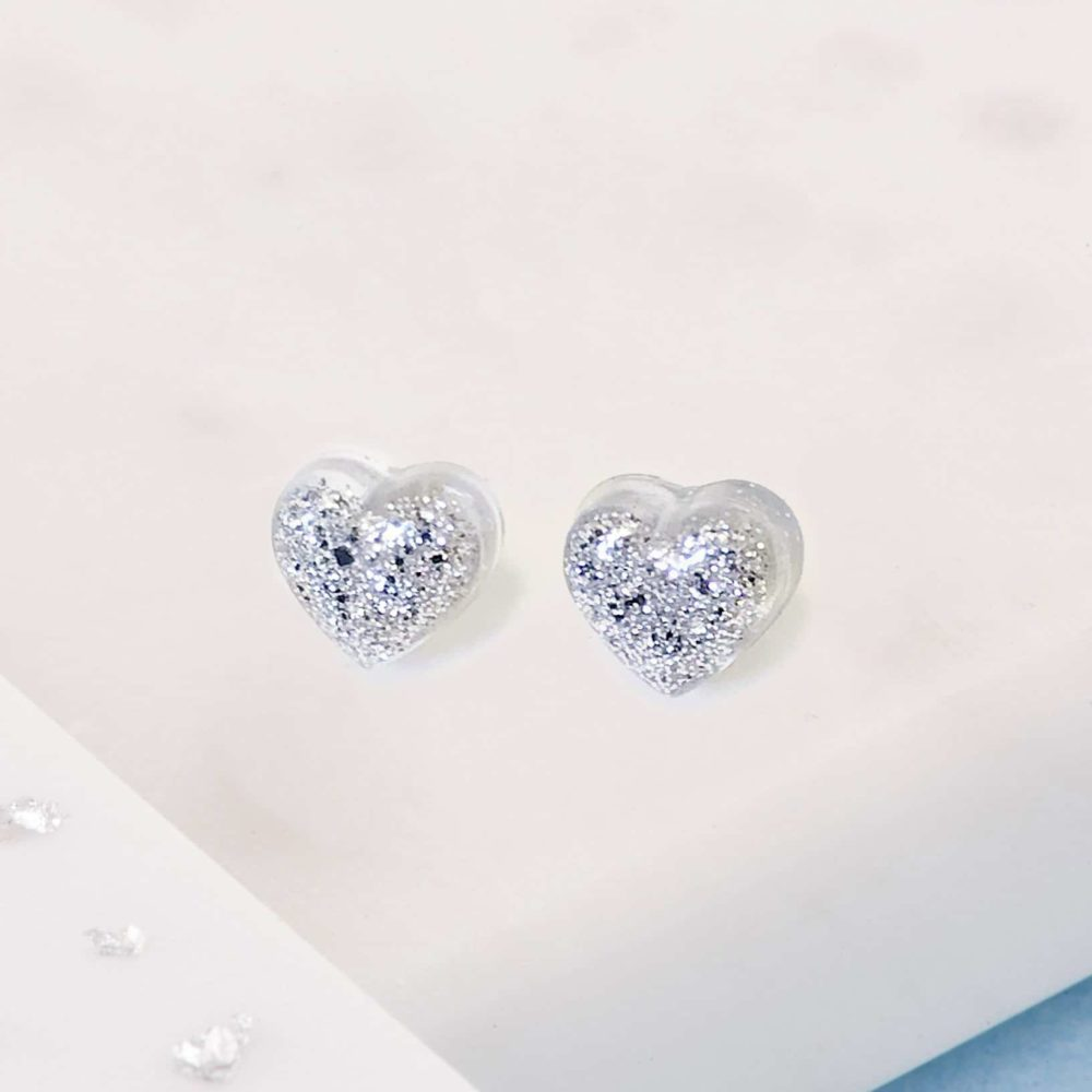 Ashes or Hair Small Crystarosin Heart Stud Earrings