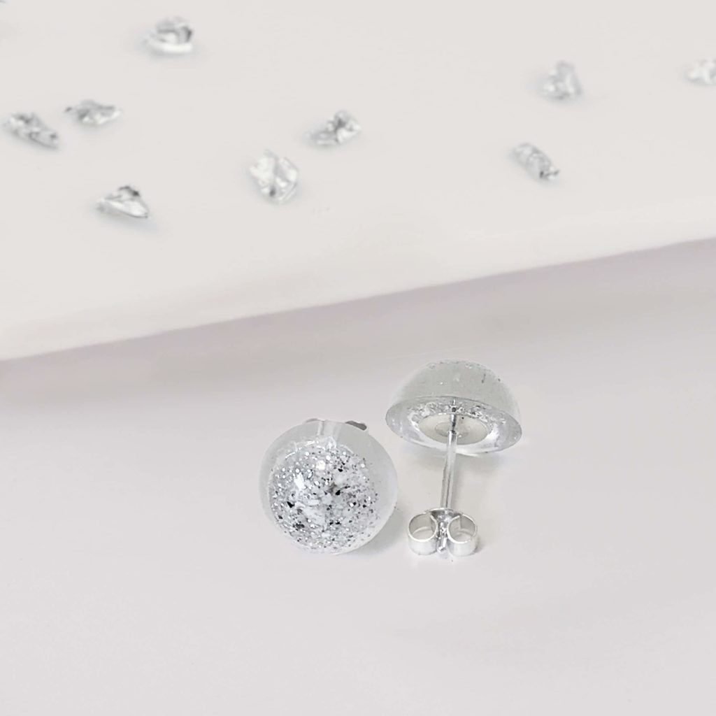 Ashes or Hair Small Crystarosin Round Stud Earrings