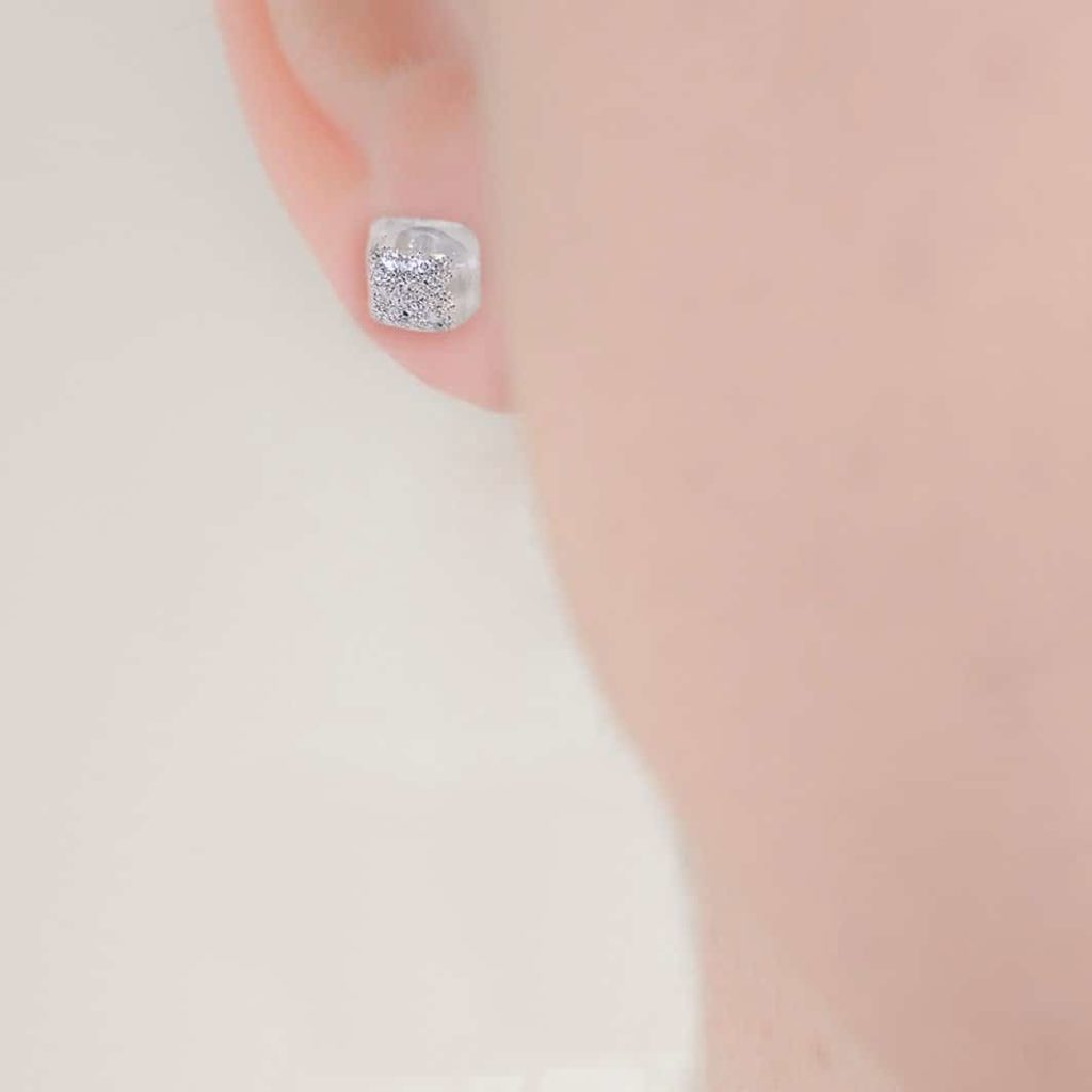 Ashes or Hair Small Crystarosin Square Stud Earrings