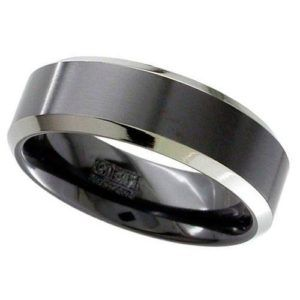 Flat Profile Black Zirconium Ring with Chamfered Natural Edges