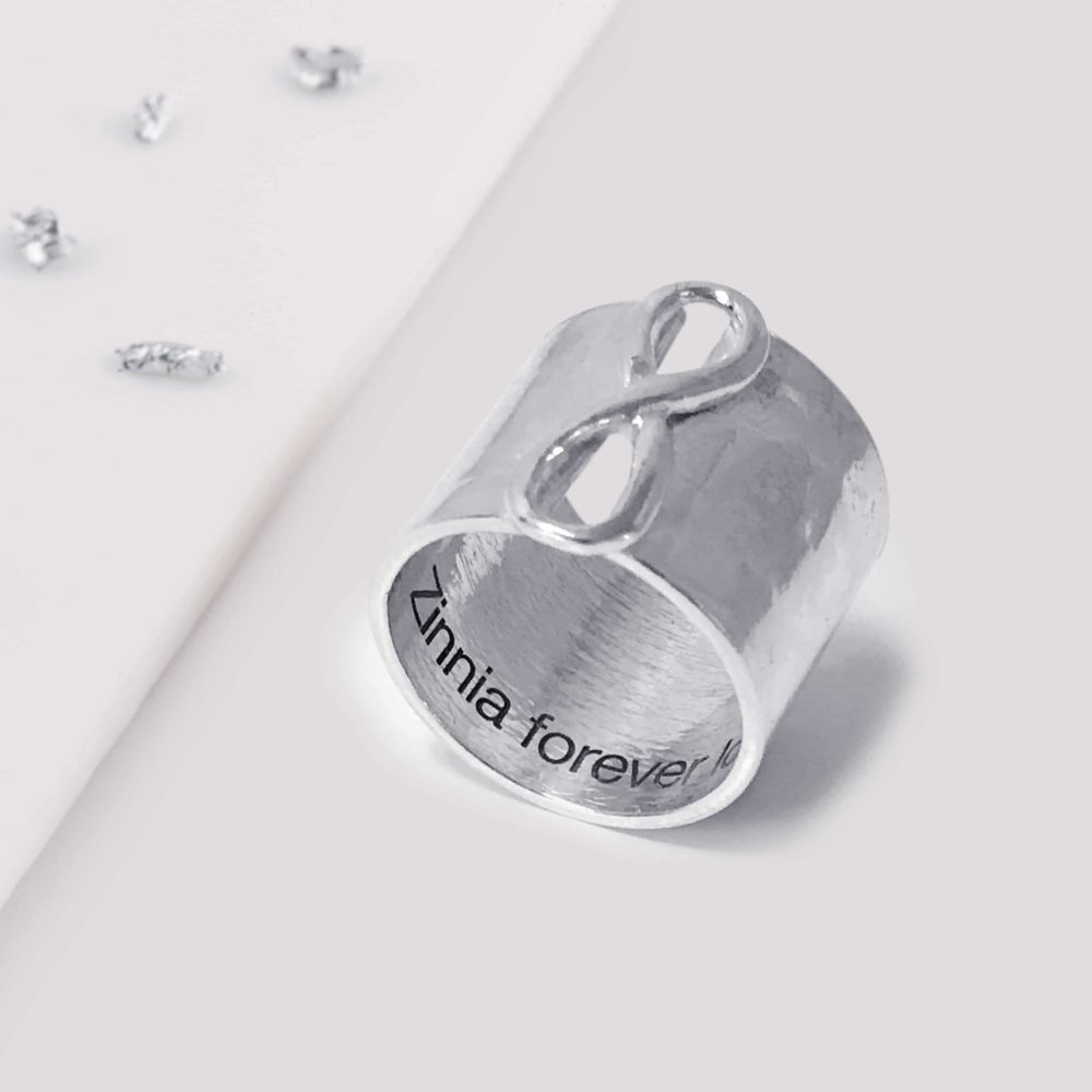 Eternal Love Knot Infinity Ring, Ashes or Hair Imprinted