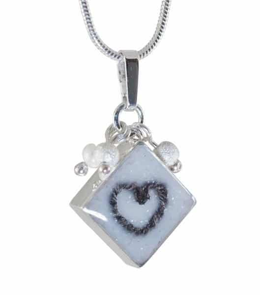 Square Pendant with Heart Shaped Hair Twist, With 45cm Chain