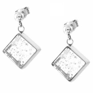 Square Corner-Hung Earrings, Ash Infused into Glass