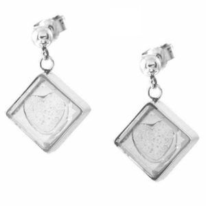 Square Corner-Hung Earrings, Embossed Ash Heart
