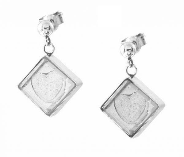Square Corner-Hung Earrings, Embossed Ash Heart