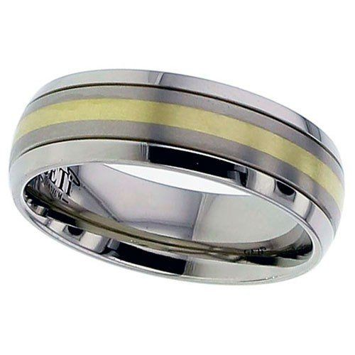 Dome Profile Titanium Ring, Twin Finish, Precious Yellow Metal Inlay