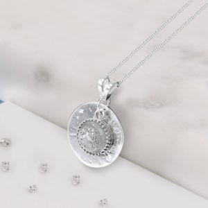 Sterling Silver Disc and Crystarosin Gem Memorial Pendant