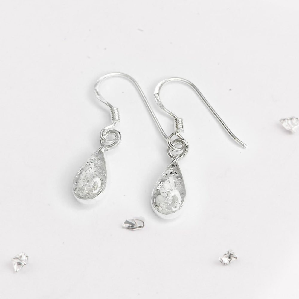 Sterling Silver Crystarosin Teardrop Inlaid Memorial Earrings