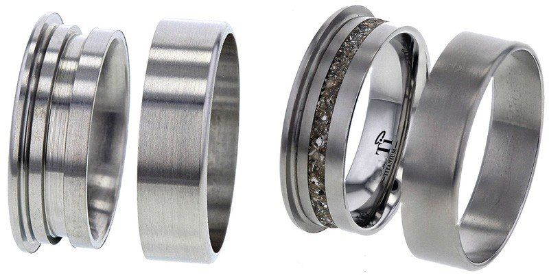 Flat Profile Titanium Ring with Edge Rails, with Ash Cavity