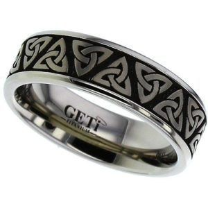 Flat Profile Titanium Ring with Rounded Corners and Trinity Knot Laser Design