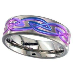Zirconium Ring, Flat Profile with Anodised Celtic Detail