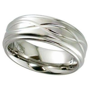 Shouldercut Flat Profile Titanium Ring with Infinity Pattern.