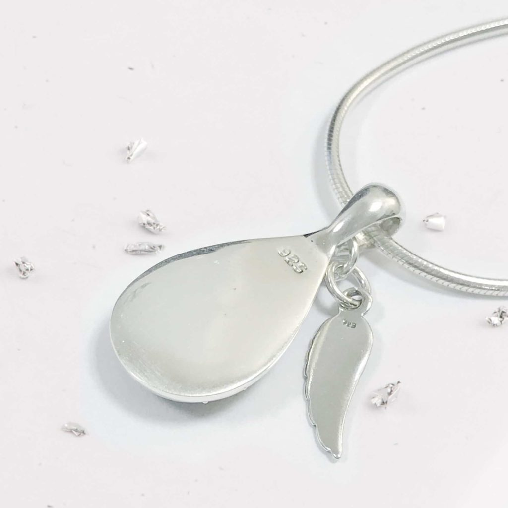 Angel Wing Crystarosin Memorial Teardrop Pendant