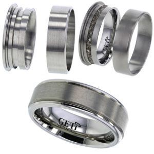 Flat profile Titanium ring with edge rails. For Ashes or Hair.