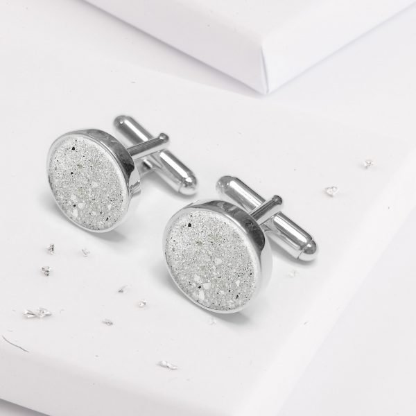 Ashes Or Hair Encapsulated Crystarosin Cufflinks