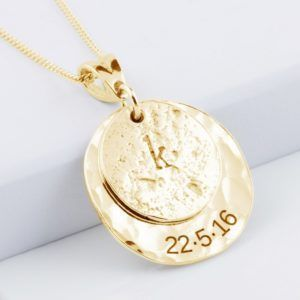 Memorial Pendant, Ashes-Imprint Initial Disc, Planished 9 Ct Gold