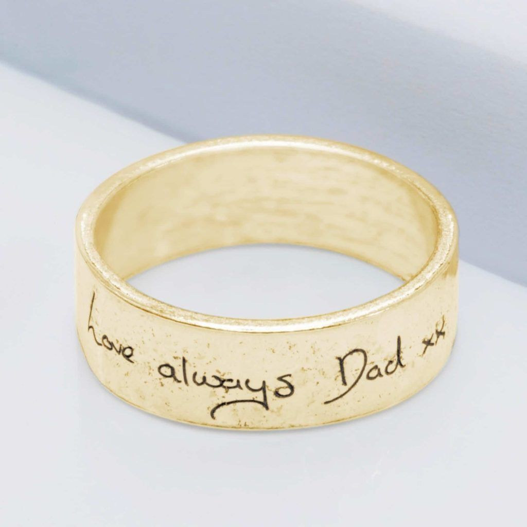 9ct Yellow Gold Handwriting Ring with Ashes Imprint