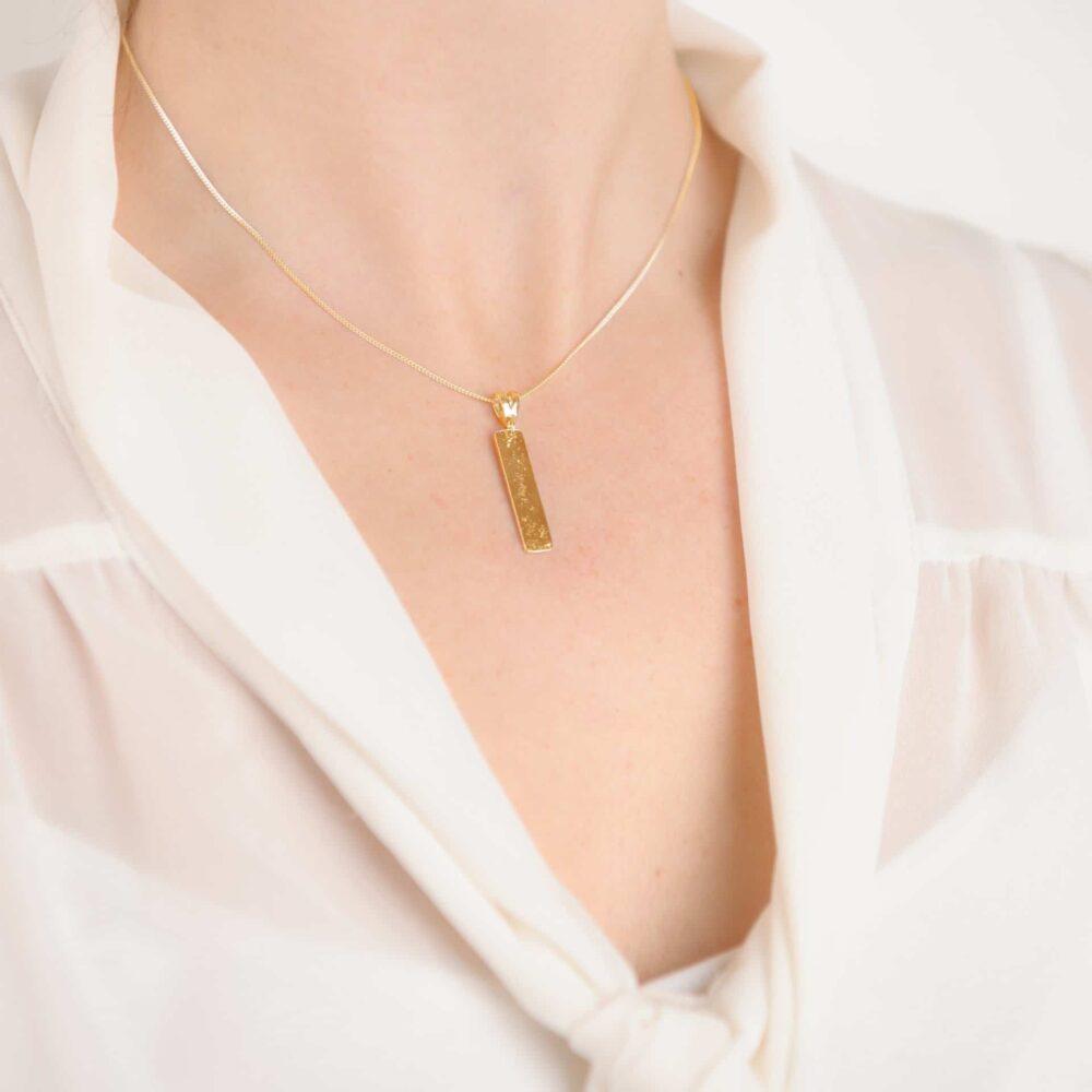 9ct Yellow Gold Bar, Ashes or Hair Imprinted Oblong Bar Pendant