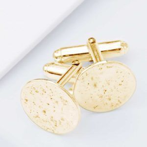9ct Yellow Gold, Ashes Imprint Cufflinks, Circular.