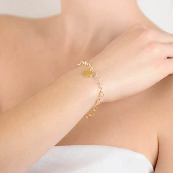 9ct Yellow Gold Ashes or Hair Memorial Disc Bracelet
