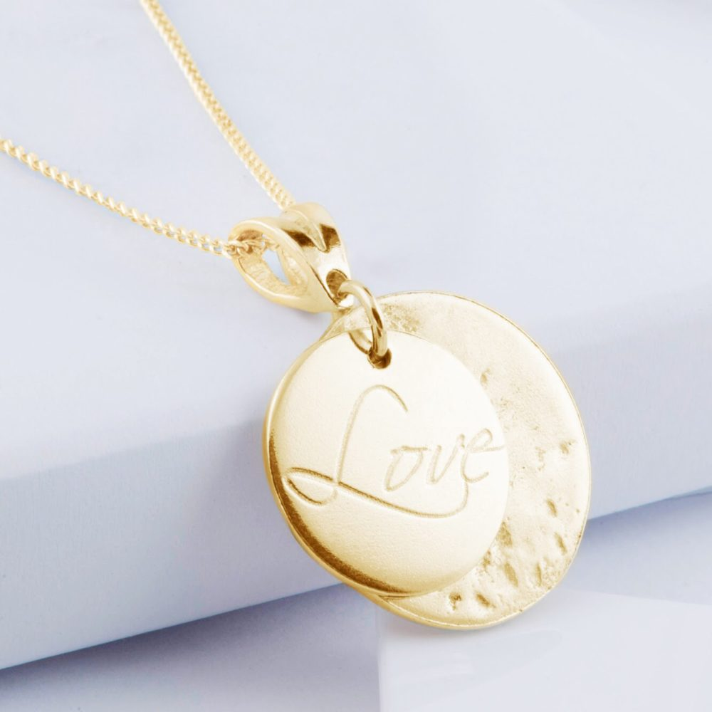 9ct Yellow Gold Ashes or Hair Imprinted Love Pendant