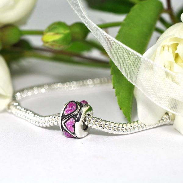 Sterling Silver Heart-Inlaid Stopper Charm