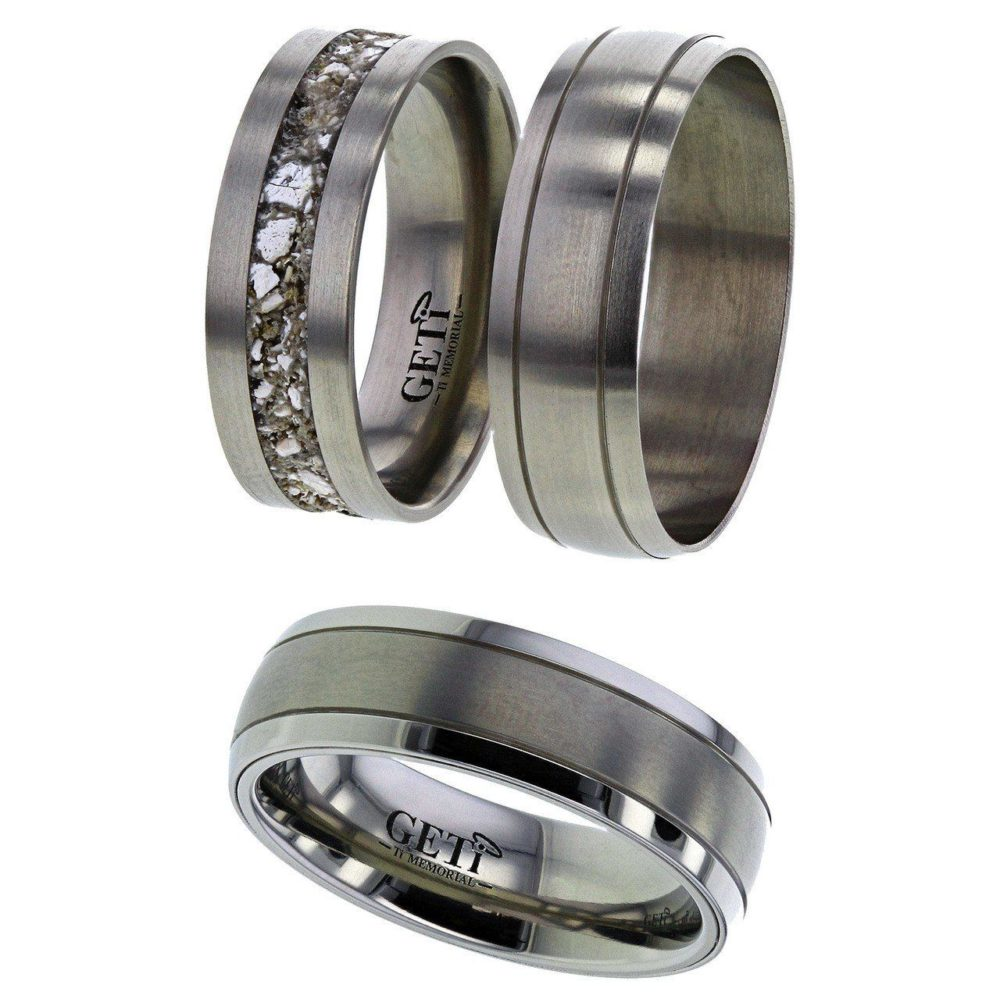 Shallow-Dome Profile Titanium ring, Twin Grooves and Satin Centre.