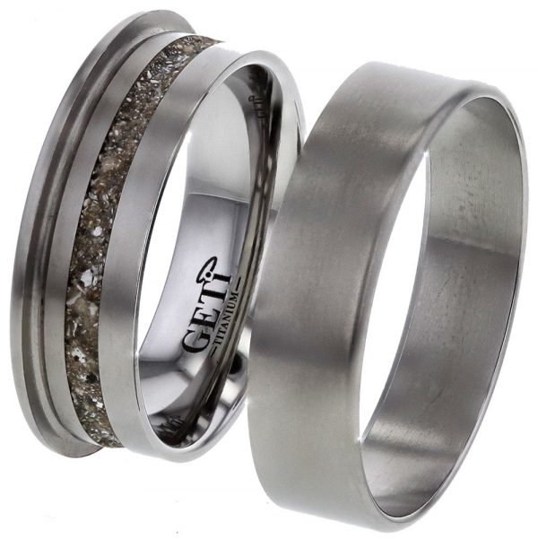 Flat Profile Titanium ring, with Your Enscription, for Ashes.