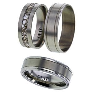 Flat Profile Titanium ring, Twin Grooves and Satin Centre.