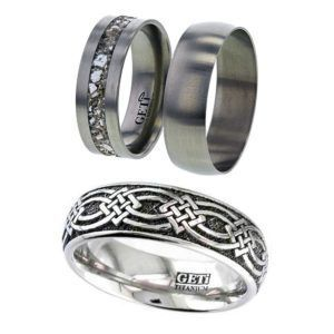 Dome Profile Titanium Ring with Laser Engraved Continuous Celtic Knot Square Detail.