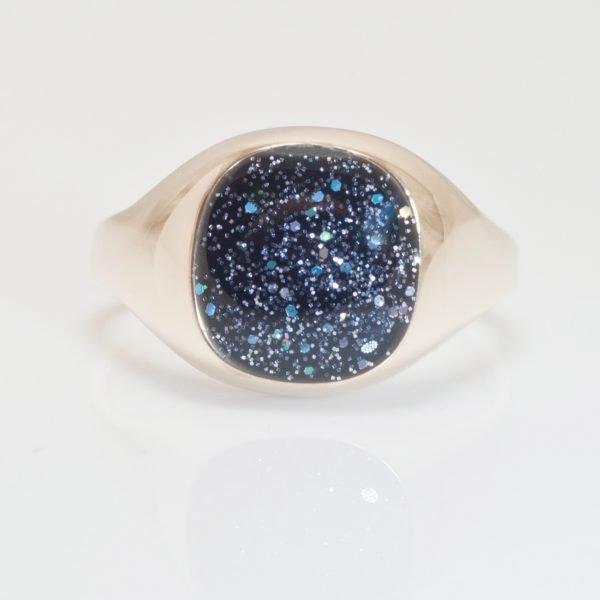 Crystallure Men's Memorial Square Signet Ring