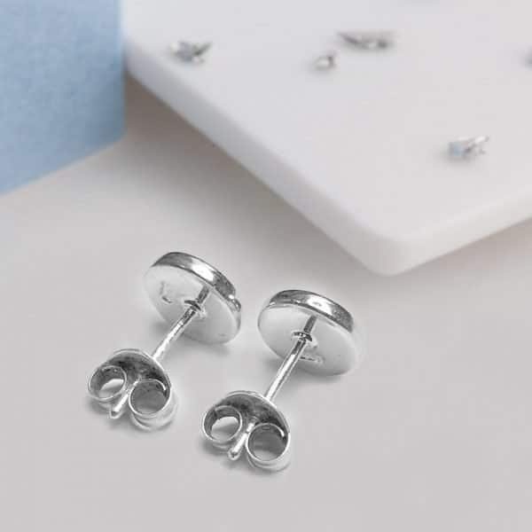 Ashes or Hair Small Crystarosin Round Inlaid Bezel Earrings