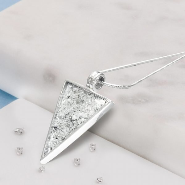 Sterling Silver Crystarosin Triangular Inlaid Memorial Pendant with Ashes