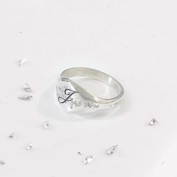 Ashes Imprinted Unisex Sterling Silver Signet Ring with Initial