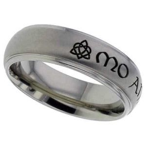 Shouldercut dome profile Titanium ring with a standard Celtic inscription - My Soulmate.