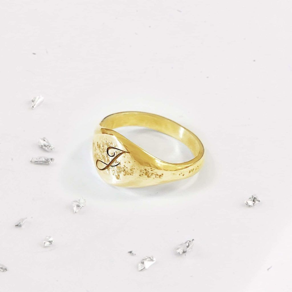Ashes Imprinted Unisex Sterling 9ct Gold Ring with Initial