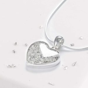 Sterling Silver Inlaid Crystarosin Heart Memorial Pendant with Ashes