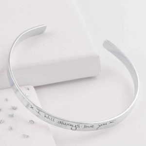 Silver Memorial Handwriting Torque Bangle with Ashes Imprint