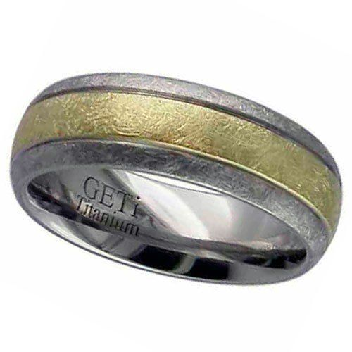 Dome profile Titanium rings with 3mm precious yellow metal inlay - grooved. Heavy wire brush finish