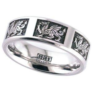 Welsh dragon Titanium ring - flat profile, chamfered edges